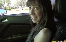Hazel from StreetBlowjobs fucks in the car for money